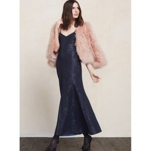 NEW Reformation Academy Maxi Dress Blue Twinkle S